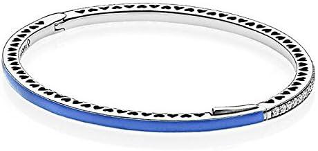 PANDORA Bracelet jonc avec pierres et émail bleu mesure 2 cm 19 ...