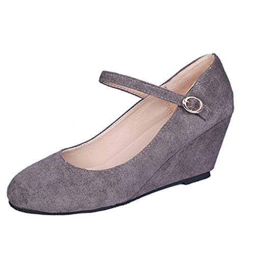 Fashion Respctful✿ Women's Mary Jane Closed Round Toe Buckled Strap Ankle Strappy Wedge Pump Gray ()