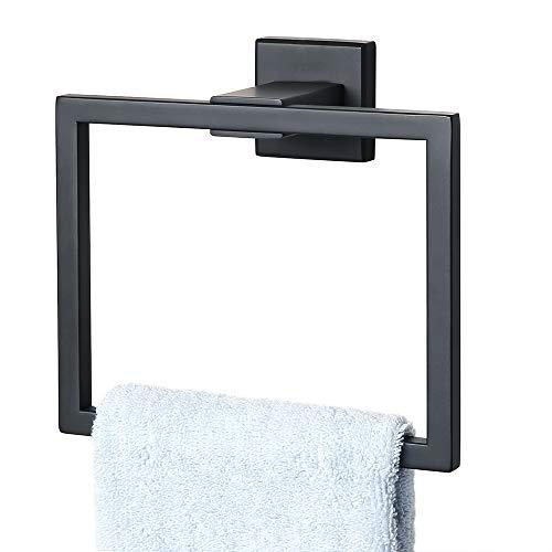 Alise Towel Ring Bathroom Shower Towel Hanger/Holder Modern Square Style Towel Rack Wall Mount,SUS 304 Stainless Steel Matte Black GK8009-B ()