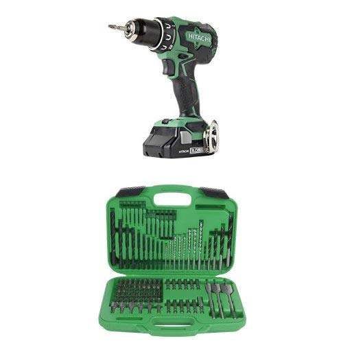 Hitachi DS18DBFL2S 18V Cordless Lithium Ion Brushless High Torque Driver Drill with 120 Piece Drill and Drive Set