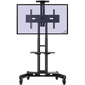 Invision Chariot Meuble TV avec Roulette Support Télé Pied Pivotant de 32 à 65″ – Mobile TV de Plancher Robuste – Anti Basculement et Ultra Stable – Fixation VESA 600x400mm [GT1200 ScreenStation]