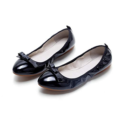 Casual Travel Womens Black Leather BalaMasa Pumps Shoes Bows APL10769 tEwqUUf