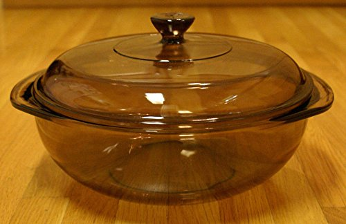- Unused Pyrex Fireside Bakeware Amber Round 2 Qt Casserole Baking Dish w/Metal Server