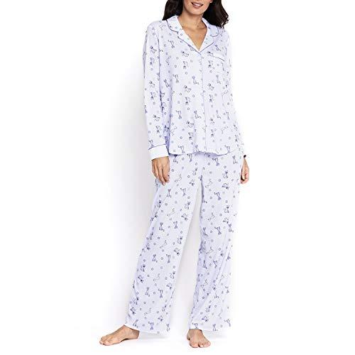 (Karen Neuburger Women's Light Blue Knit Girlfriend Pajamas with Cat Print ~ XXL )