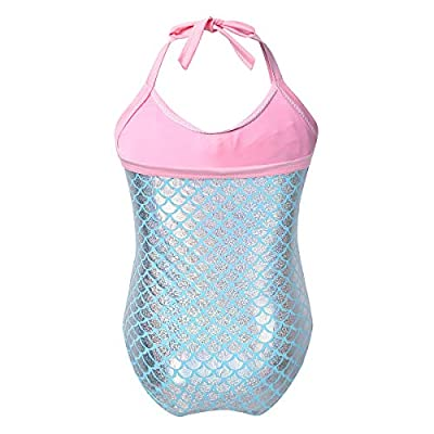 ACSUSS Toddlers Infant Baby Girls One Pieces Swimsuit Fish Scales Mermaid Swim Costumes Halter Bowknot Swimwear: Clothing