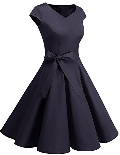 Cortas Corto Mangas Vintage 1950s Retro Dresstells Azul reg;Mujer Vestido Marino Con wtOfcq8
