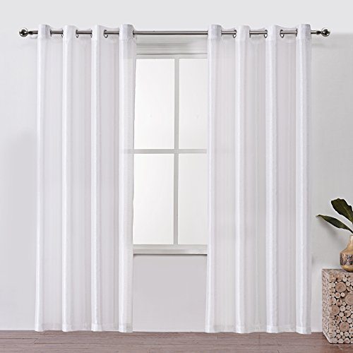 DWCN Sheer Curtains Semi Transparent Voile Grommet Window Curtain Faux Silk Drapes for Bedroom 52 x 84 Inches Long, 2 Panels White