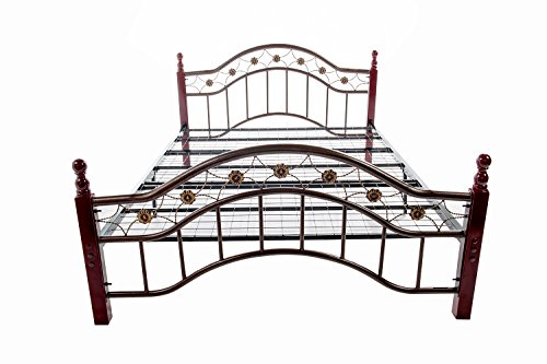 Home Source Industries 3093 Decorative Queen Metal Bed with Sturdy Wooden Posts