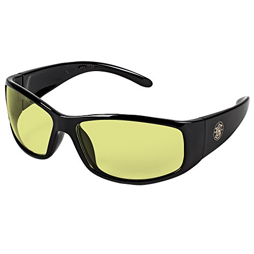 Smith and Wesson Safety Glasses (21305), Elite Safety Glasses, Amber Anti-Fog Lenses with Black Frame, 12 Pairs / Case