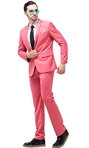 [Tsui-Fashion Men's New Work Slim Fit One Button Suits XZ00261PK 42R XXL] (Pink Man Suit)
