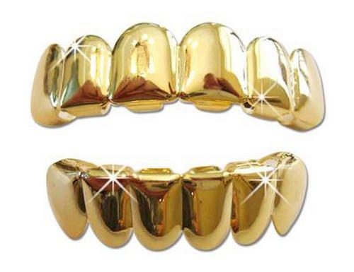 Hip Hop 14K Gold Plated Pimp Player Mouth Teeth Grills Grillz (Pimp Bling)