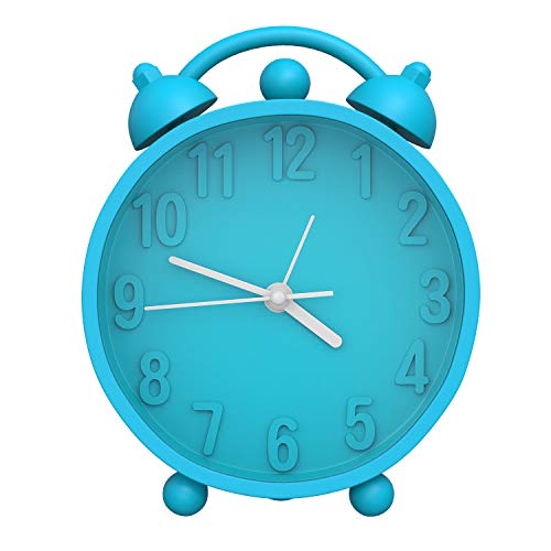 MoKo Twin Bell Alarm Clock, Stylish Silicone Mini Desk Bedside Clock Battery Operated Wake-up Clock, Portable Decorative Loud Alarm for Living Room Bedroom Dormitory - Sky Blue