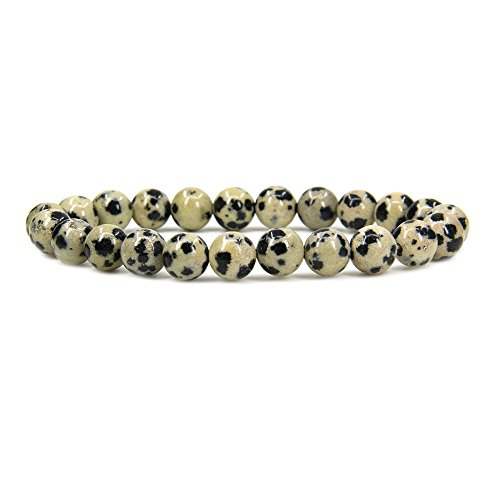 - Amandastone Natural Dalmatian Jasper Gemstone 8mm Round Beads Stretch Bracelet 7