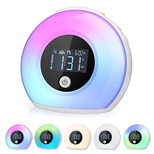 Yapeach Wake Up Light Alarm Clock, Smart Kids Night Lights Digital Alarm Clock LED Wireless Bluetooth Speaker Lamp for Bedroom Living Room Decor