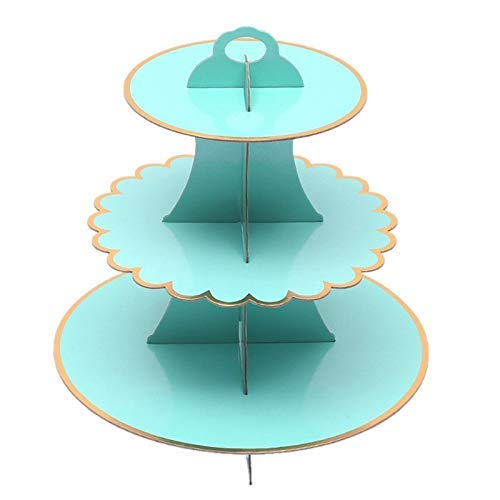 Cake Decorating Supplies - 3 Tier Foldable Paper Dessert Cake Stand Crown Cupcake Display Wedding Birthday Party Wholesale - Rheme Candies Cake Eyes Comb Large Professional Party Turntable Gras ()