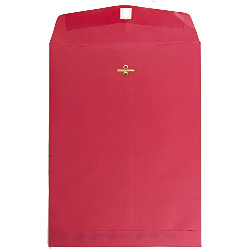 """JAM Paper 9"""" x 12"""" Open End Catalog with Clasp Closure Envelope - Christmas Red - 100/pack"""