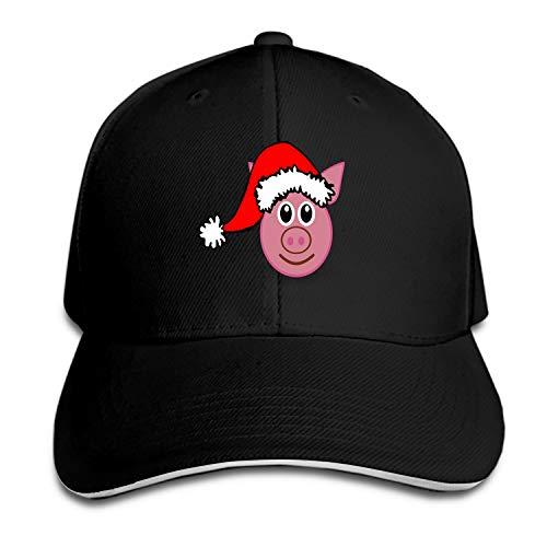 Customized Unisex Trucker Baseball Cap Adjustable Pig Christmas Santa Claus Hat Peaked Sandwich -