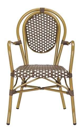 Safavieh PAT4014C-SET2 Outdoor Collection Rosen Brown and White French Bistro Stacking Arm Chair