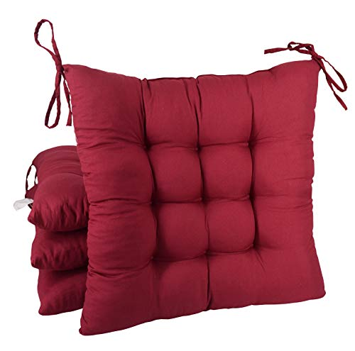 FlyGulls Chair Cushion 4 Pack Cotton Padded Thicken Squared Chair Pads Home Decoration (Burgundy) (Where To Rocking Chair Buy Cushions)