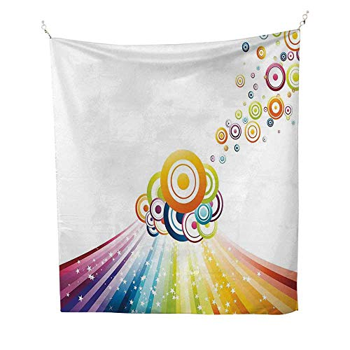 Vintage Rainbowsimple tapestryColorful Stripes Wave and Bullseye Circles Pattern with Stars Illustration 60W x 91L inch Art tapestryMulticolor (Mushroom Bullseye)