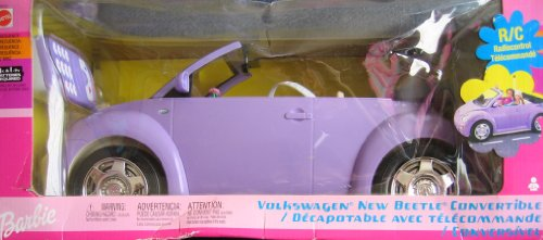 Barbie Radio Control Volkswagen New Beetle Convertible Vehicle w Working Headlights! - Remote Control VW Car (2002) (Radio De Barbie)