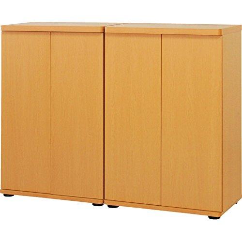 シューズボックス(木製扉) 2個組 ナチュラル B076HM8BCP
