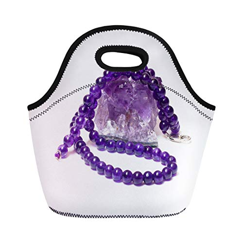 Semtomn Lunch Bags Purple Stone Rough Amethyst and Necklace Over White Pink Neoprene Lunch Bag Lunchbox Tote Bag Portable Picnic Bag Cooler Bag