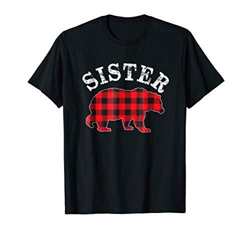Red Plaid Sister Bear Matching Buffalo Pajama Shirt