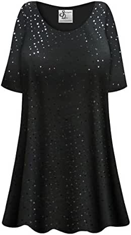 Solid Black w/Sparkles Plus Size Supersize Poly/Cotton Extra Long T-Shirt