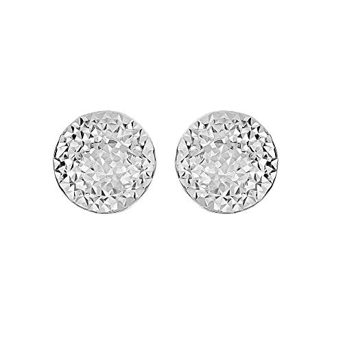 Sterling Silver Rhodium Plated Hammered Puffed Circle Button Stud Earrings, 12mm