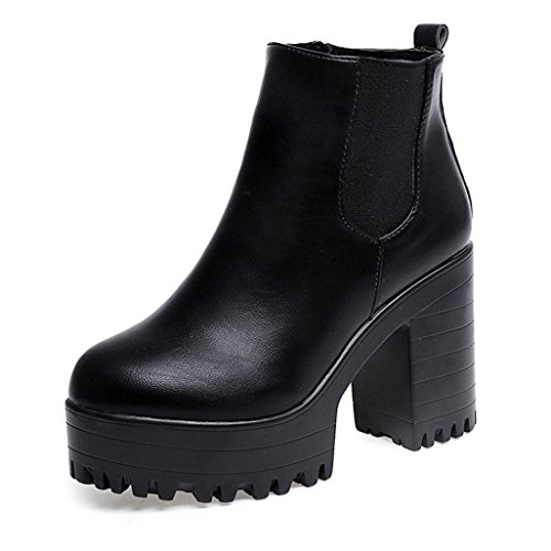 Clearance Women Shoes COPPEN Women Boots Square Heel Platforms Leather Thigh High Pump Boots Shoes