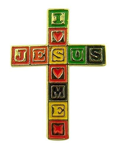 SINGER Gold Tone and Enamel Jesus Loves Me Blocks Cross Lapel Pin, 1 - Cross Green Enamel