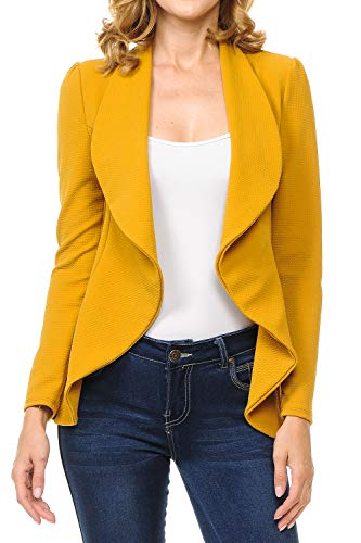 (MINEFREE Women's Long Sleeve Classic Draped Open Front Lightweight Blazer Mustard 3XL)