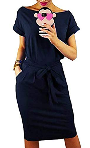 PALINDA Women's Striped Elegant Short Sleeve Wear to Work Casual Pencil Dress with Belt (M, Navy1)