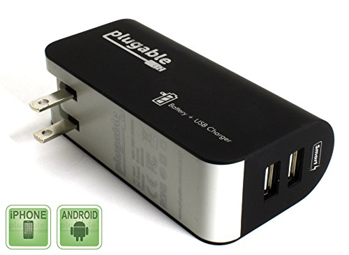 Plugable 2-Port USB Power Bank (5,000mAh) + Pass-Through AC Wall Outlet Smart (Battery Pack Wall Charger)