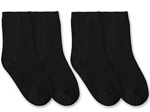 Jefferies Socks Boys Classic Rib Crew Dress Socks 2 Pair Pack (Toddler - USA Shoe 3-7 - Age 1-2 Years, Black)