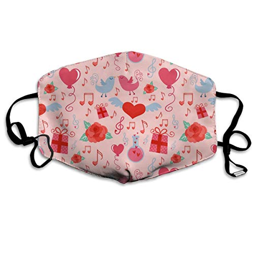 Fashion Earloop Mouth Mask, Anti-Dust Anti Flu Pollenm Germs Bacteria Mouth-Muffle with Adjustable Elastic Band - Windproof Red Love Heart Patterns Pink Half Face Mouth Mask]()