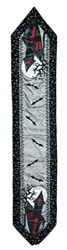 Katherine's Collection Halloween Table Runner Dead Breakfast Haunted House and Bats 72 Inches ()
