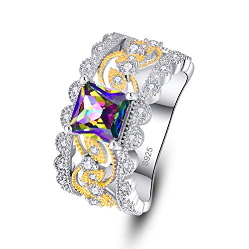 Psiroy 925 Sterling Silver Simulated Rainbow Topaz 2 Tone Wedding Band Ring for Women Size 9