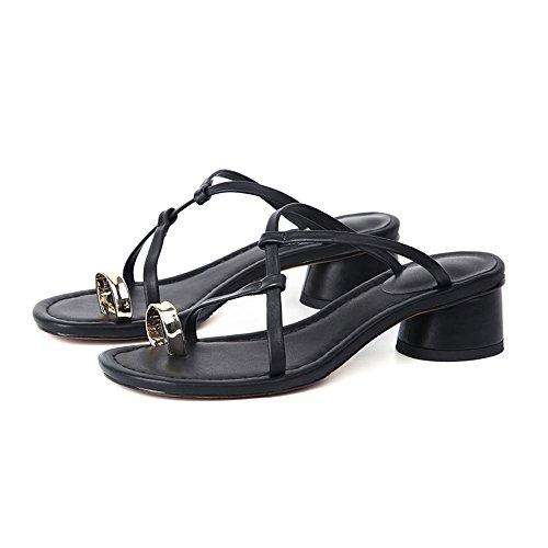 Moda CAICOLOR UK6 Negro Mujeres Color Cruzadas Tacón CN39 Cinturón de Tamaño Las Zapatillas Grueso Simples Sandalias Slipper Negro y de del EU39 AqH6Bn6pd