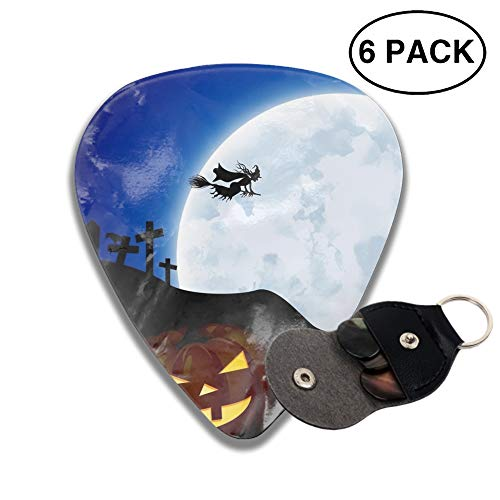 Guitar Picks Holiday Halloween Jack-o-lantern Night Witch Moon Celluloid Thin Medium Heavy Bass 3D Printed Variety Pick Small Music Gifts Grip -6pcs