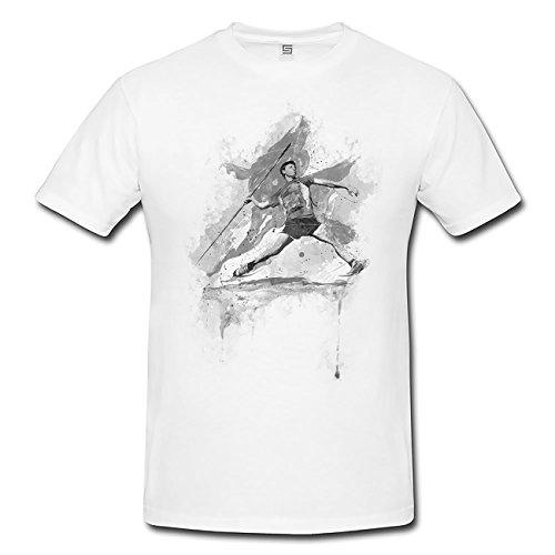Speerweitwurf I T-Shirt Herren, weiß mit Aufdruck