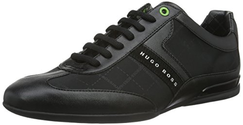 Hugo Boss Footwear Green Space Lowp Nylon/Leather Mix Black Trainer - Boss Uk Shop Hugo