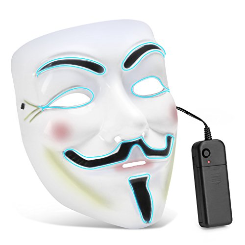 Zooawa EL Wire LED Mask, Light Up Luminous Glowing Cool V for Vendetta Mask Party Favor for Christmas, Halloween, Cosplay, Carnival, Masquerade, DJ Show - Iceblue
