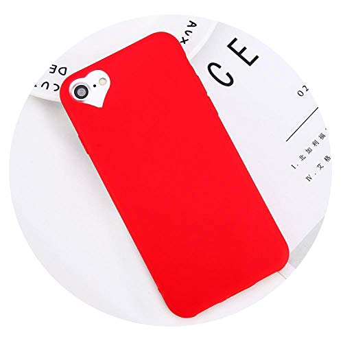 coco123 Phone Case For phone 6 6s 7 8 Plus 5 5s SE Fashion Candy Solid Color Love Heart Soft Silicone For phone 8 Phone Case,red,for phone 8 Plus (Iphone 7 Plus Vs 6 Plus Size)