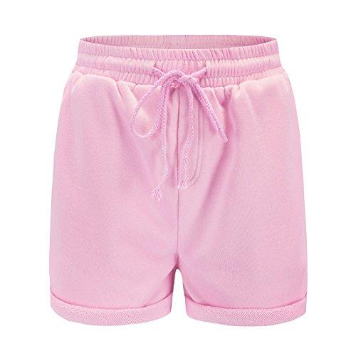 Rosa Unita Estivo Con Shorts Da Coulisse Pantaloni Parigamba Pantaloncini Corto Pants Hot Donna Moda Spiaggia Tinta qzwgZAqS