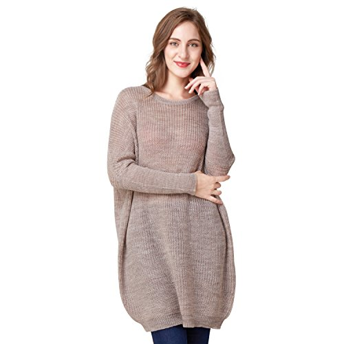 eater bat Sleeve Oversize Pullovers Loose Wool Knitwear (X-Small, Khaki) ()