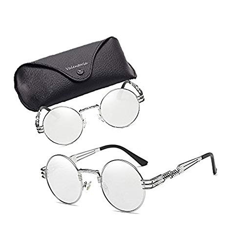 Cyber Deals Monday Deals Sales 2018-Round Retro Polaroid Sunglasses Driving Polarized Glasses Men Women Steampunk (Silver Mirror Lens/Silver Frame)