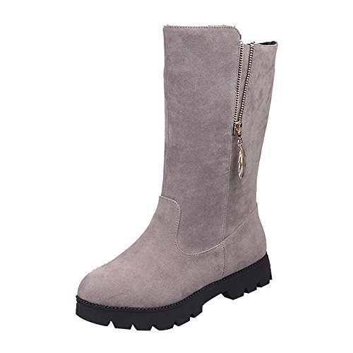 Women Boots, Hatop Women Frosted Buckle Ladies Faux Warm Knight Boots Flat Martin Shoes Gray