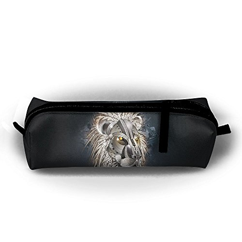 Kui Ju Pencil Bag Pen Case Metal Lion Cosmetic Pouch Students Stationery Bag Zipper Organizer -